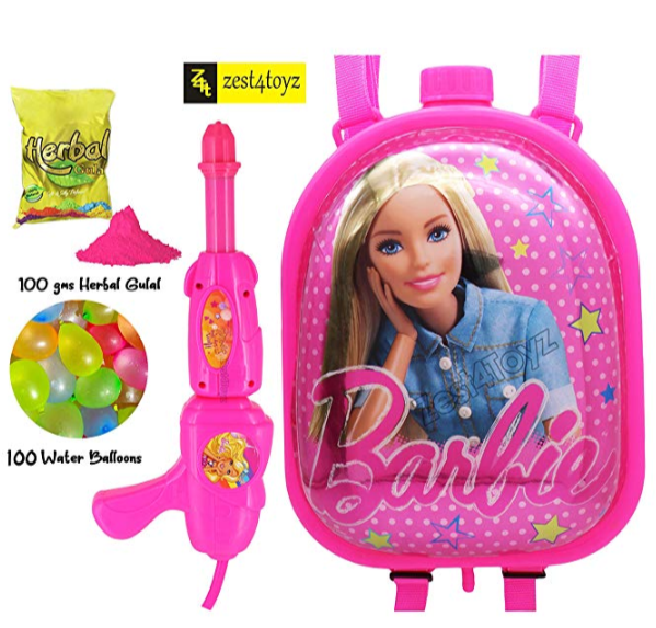 Water-Gun-with barbie-doll-sticker-and-a-water-tank-as-a-bag