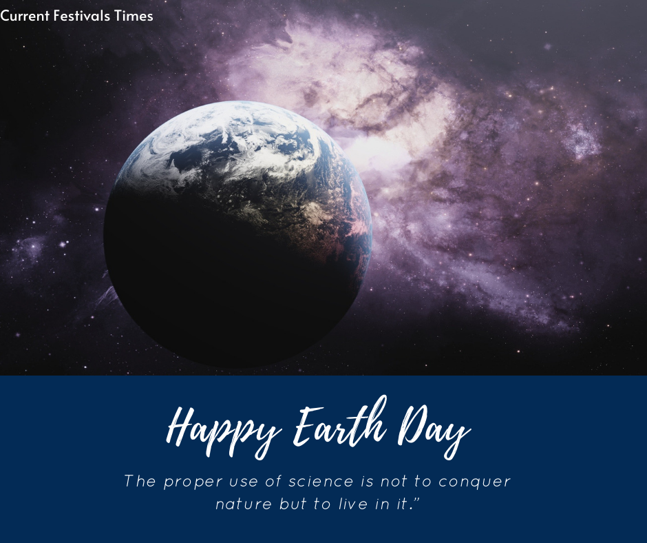 poster on earth day with slogan